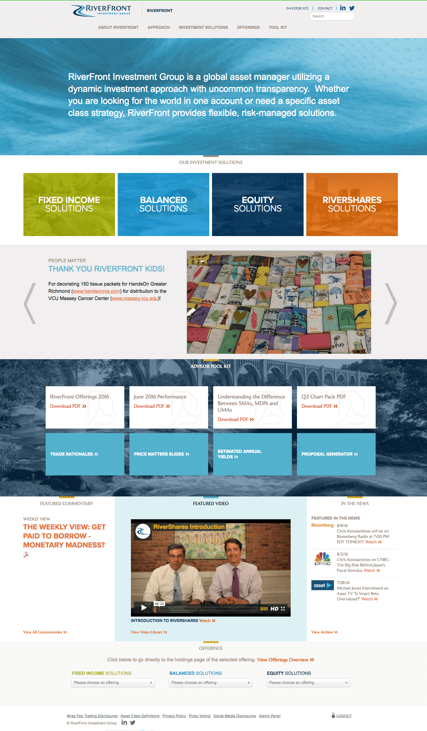 riverfront website advisor homepage