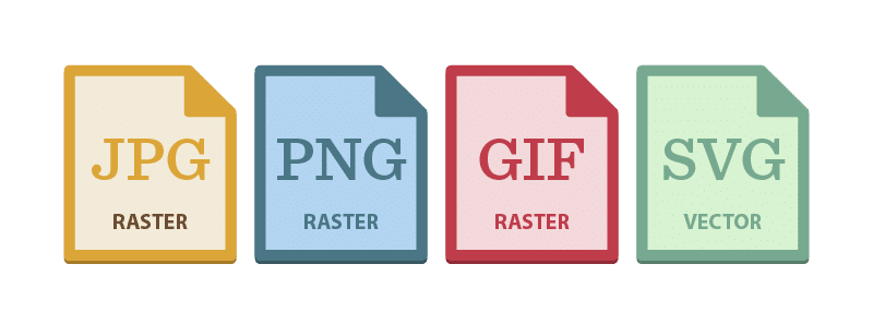 four file formats split between raster and vector